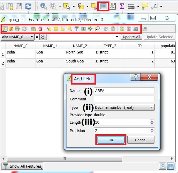 attributes toolbar in qgis