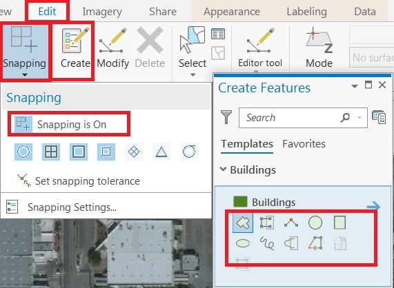 create feature and snapping setting in arcgis pro