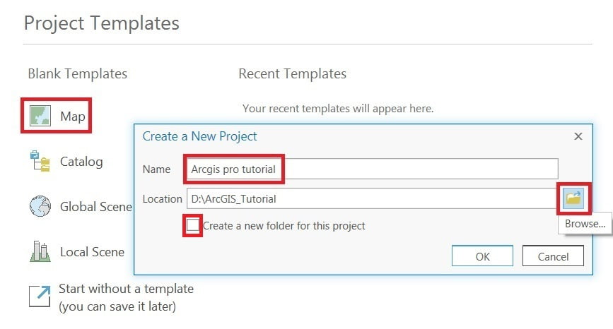 create new project in arcgis pro