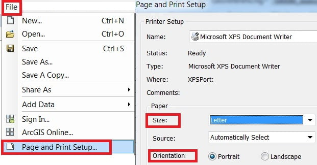 layout page setup in arcgis