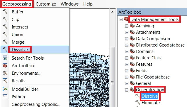 dissolve geoprocessing tools in arcgis