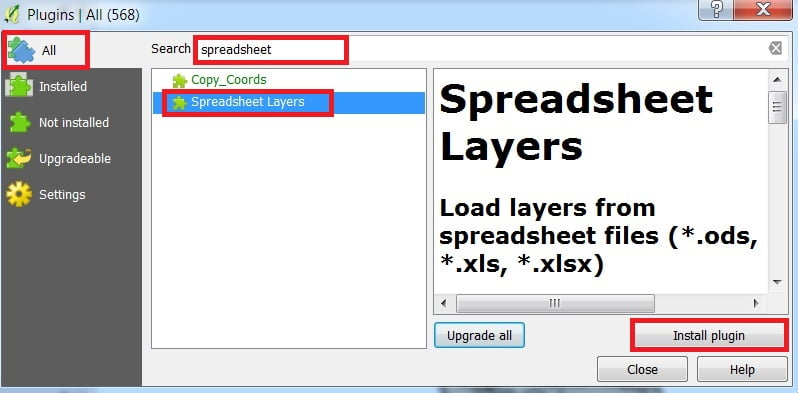 spreadsheet plugin