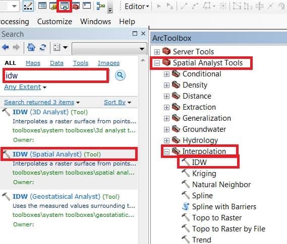 create dem IDW tool