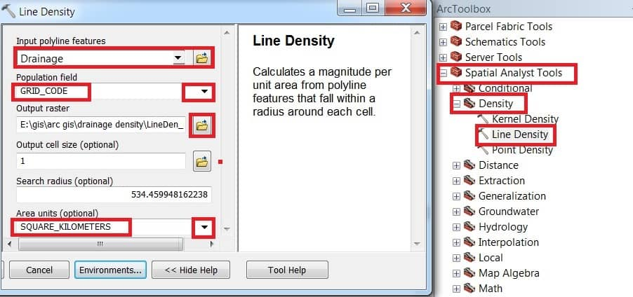 how to calculate drainage density in arcgis